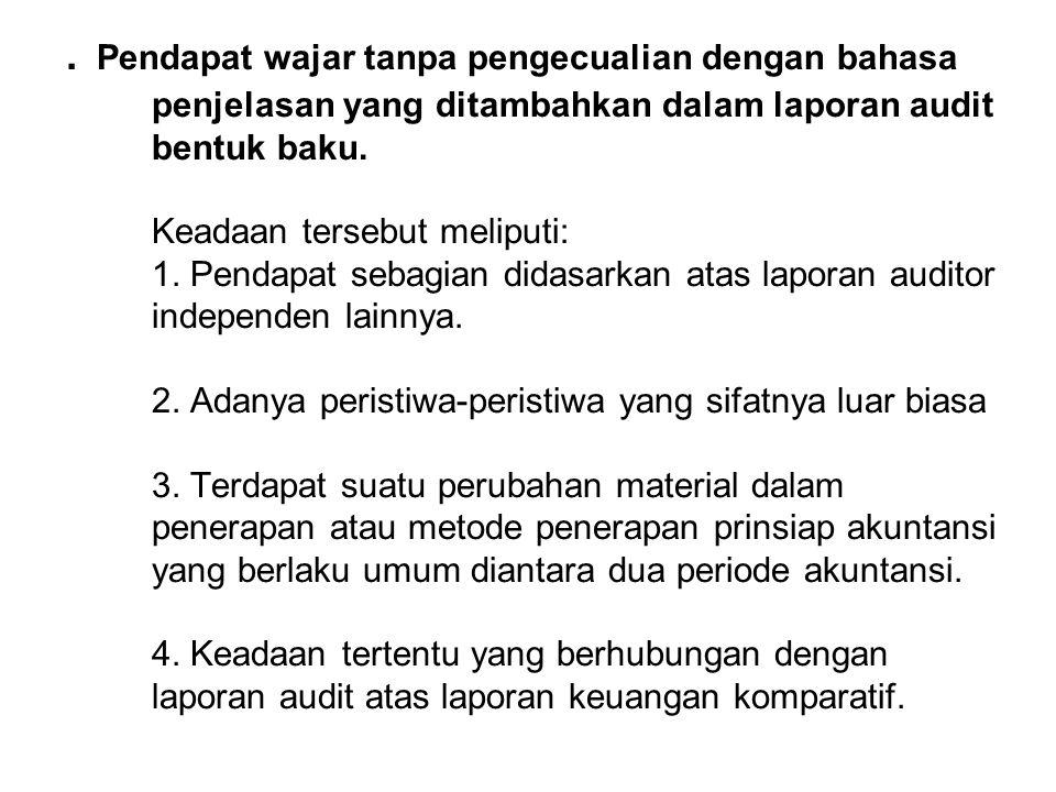Pendapat wajar tanpa pengecualian dengan bahasa penjelasan yang ditambahkan dalam laporan audit bentuk baku.