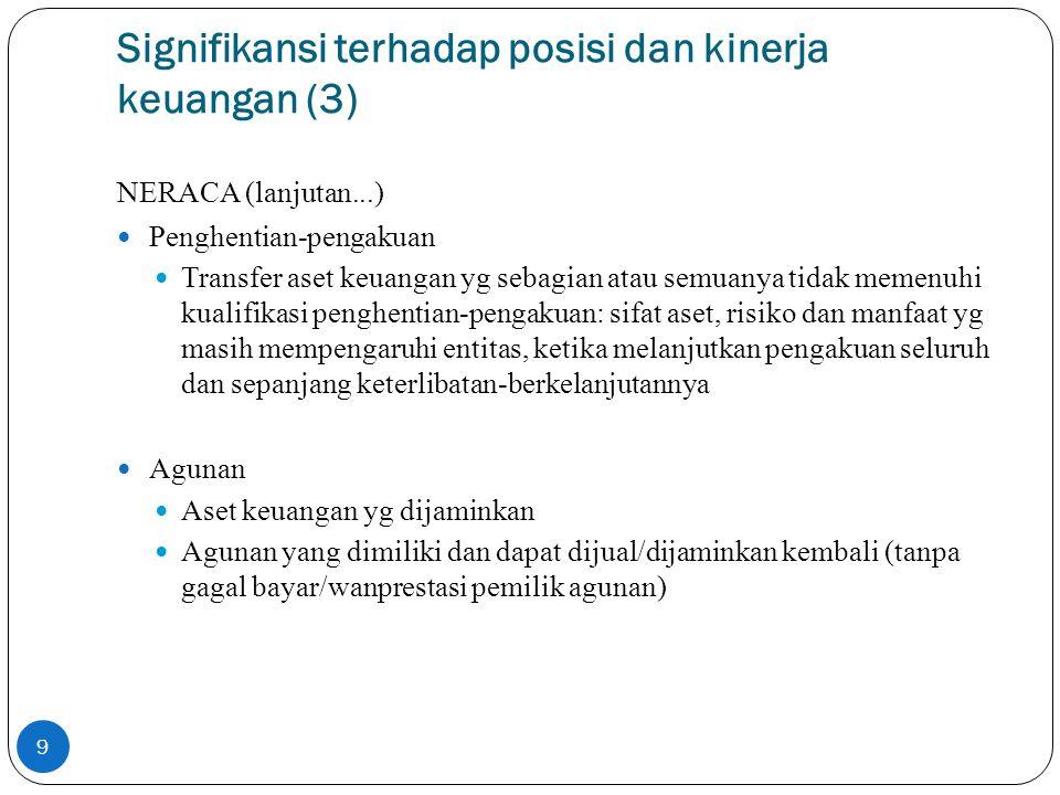 Signifikansi terhadap posisi dan kinerja keuangan (3)