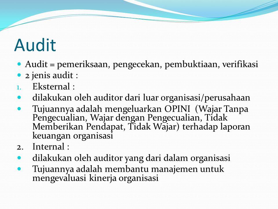 Audit Audit = pemeriksaan, pengecekan, pembuktiaan, verifikasi