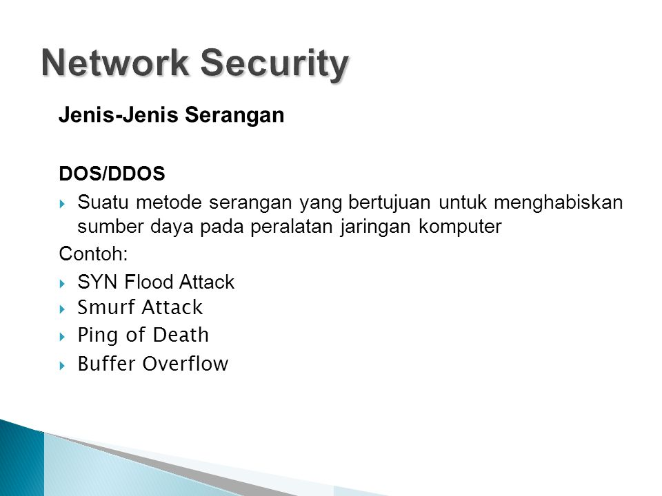 Network Security Jenis-Jenis Serangan DOS/DDOS
