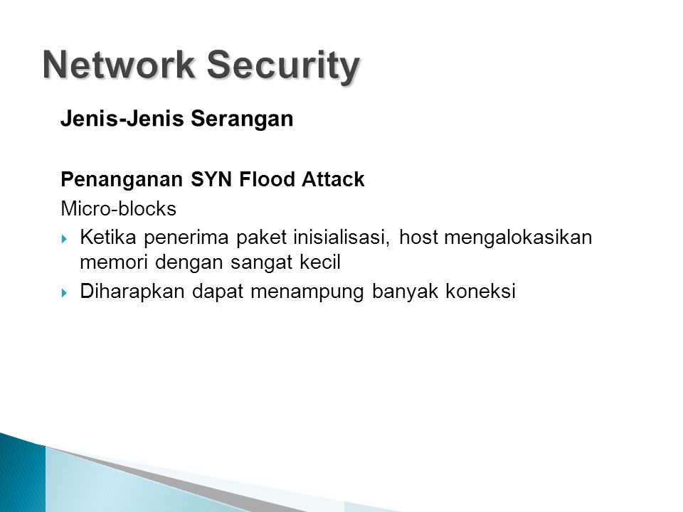 Network Security Jenis-Jenis Serangan Penanganan SYN Flood Attack