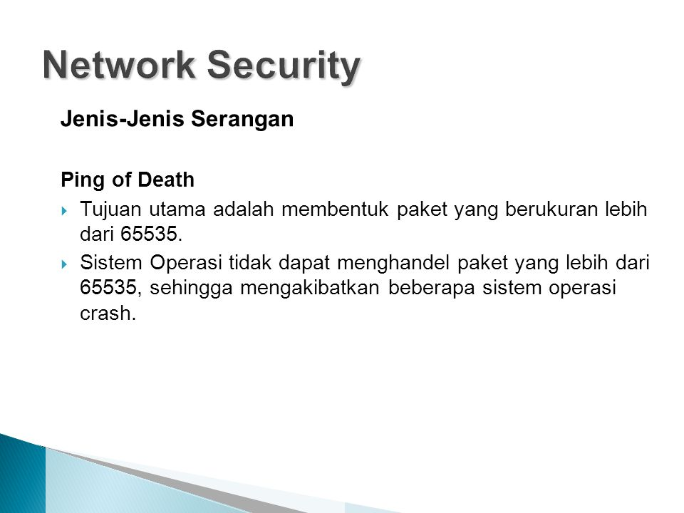 Network Security Jenis-Jenis Serangan Ping of Death