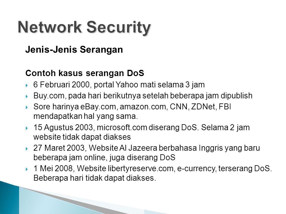 Network Security Jenis-Jenis Serangan Contoh kasus serangan DoS