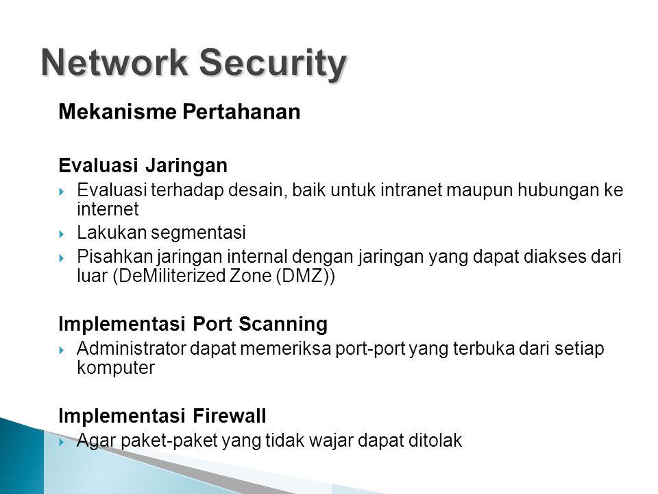 Network Security Mekanisme Pertahanan Evaluasi Jaringan