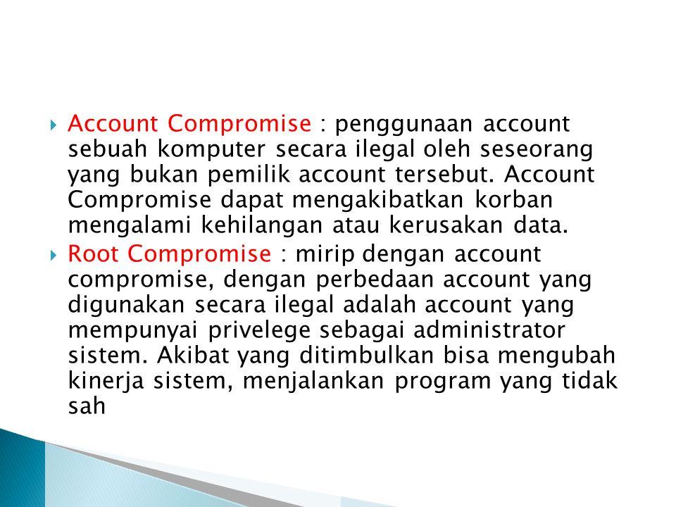 Account Compromise : penggunaan account sebuah komputer secara ilegal oleh seseorang yang bukan pemilik account tersebut. Account Compromise dapat mengakibatkan korban mengalami kehilangan atau kerusakan data.