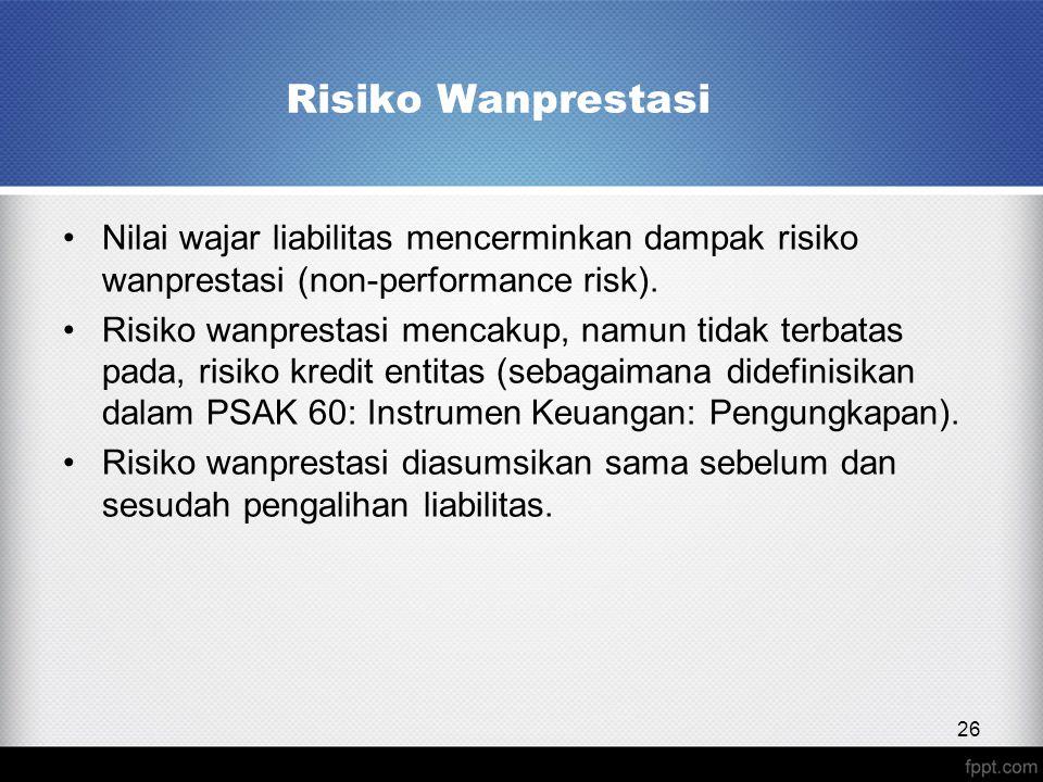 Risiko Wanprestasi Nilai wajar liabilitas mencerminkan dampak risiko wanprestasi (non-performance risk).