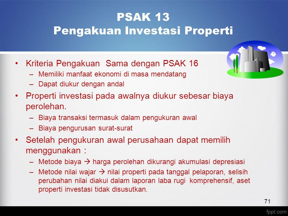 PSAK 13 Pengakuan Investasi Properti