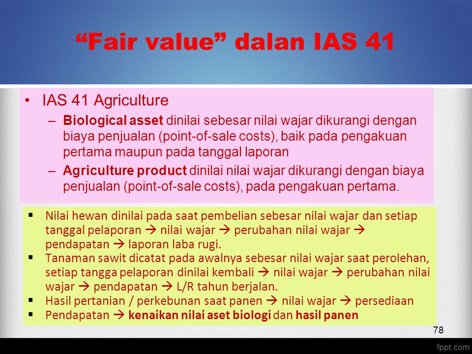 Fair value dalan IAS 41 IAS 41 Agriculture
