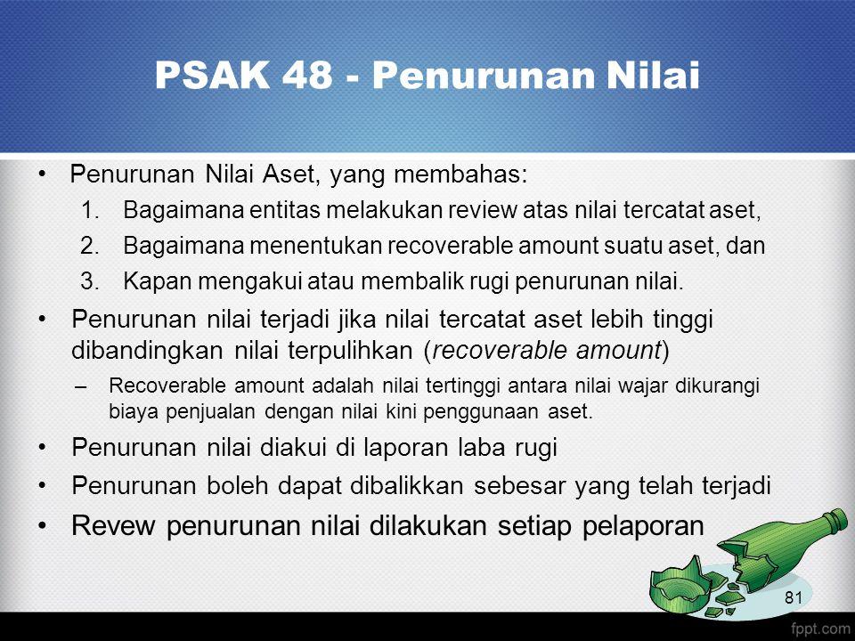PSAK 48 - Penurunan Nilai Penurunan Nilai Aset, yang membahas: Bagaimana entitas melakukan review atas nilai tercatat aset,