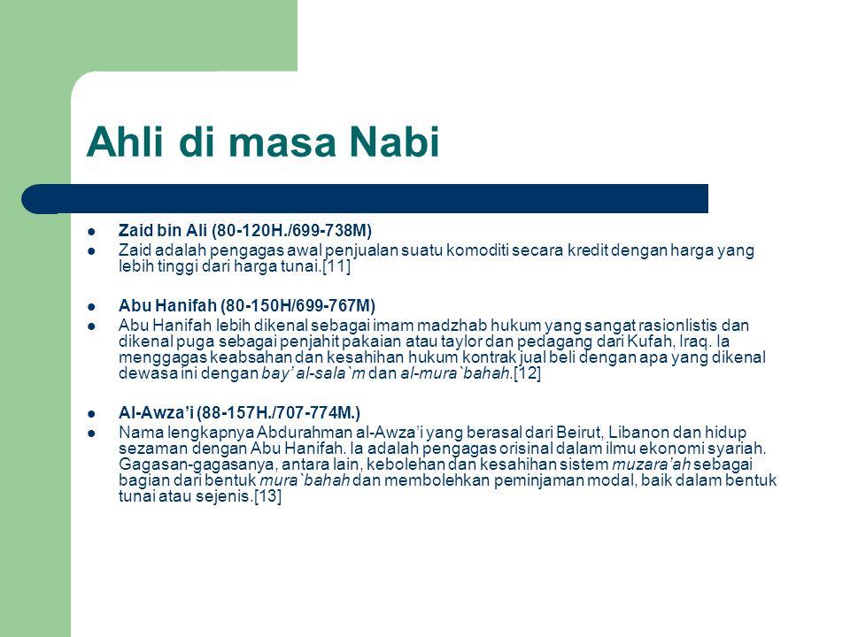 Ahli di masa Nabi Zaid bin Ali (80-120H./699-738M)