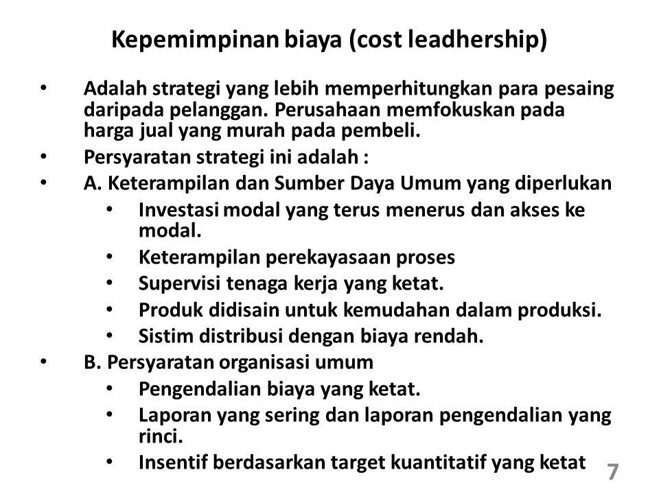 Kepemimpinan biaya (cost leadhership)
