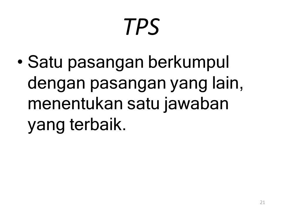 TPS Satu pasangan berkumpul dengan pasangan yang lain, menentukan satu jawaban yang terbaik.