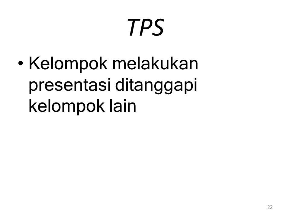 TPS Kelompok melakukan presentasi ditanggapi kelompok lain