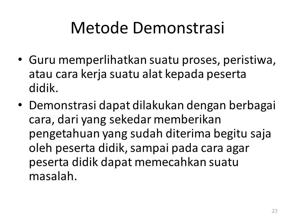 Metode Demonstrasi Guru memperlihatkan suatu proses, peristiwa, atau cara kerja suatu alat kepada peserta didik.