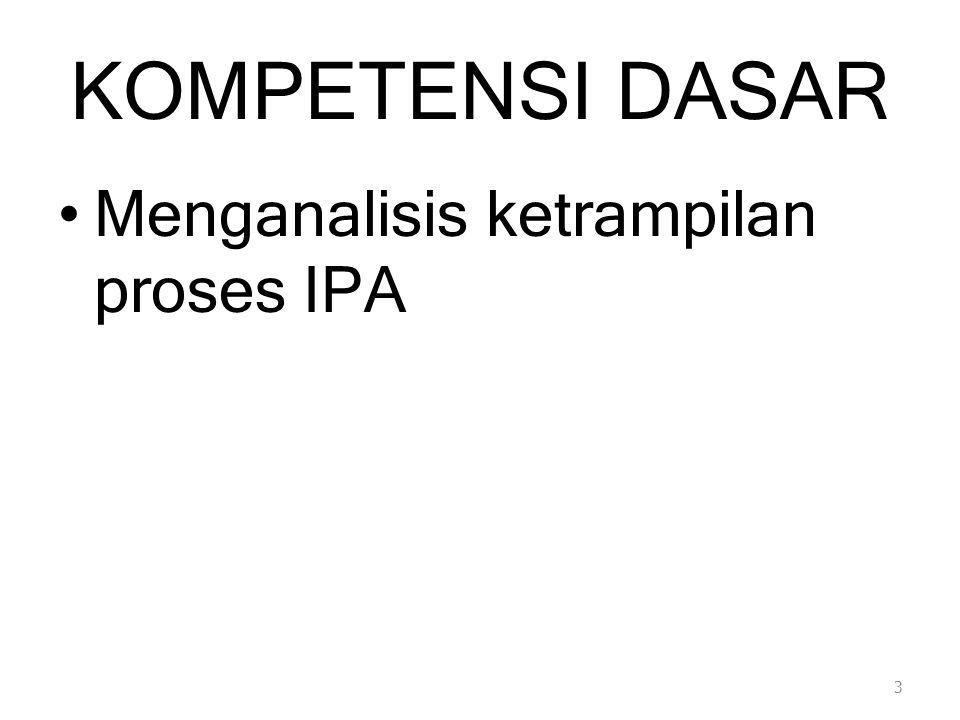 KOMPETENSI DASAR Menganalisis ketrampilan proses IPA