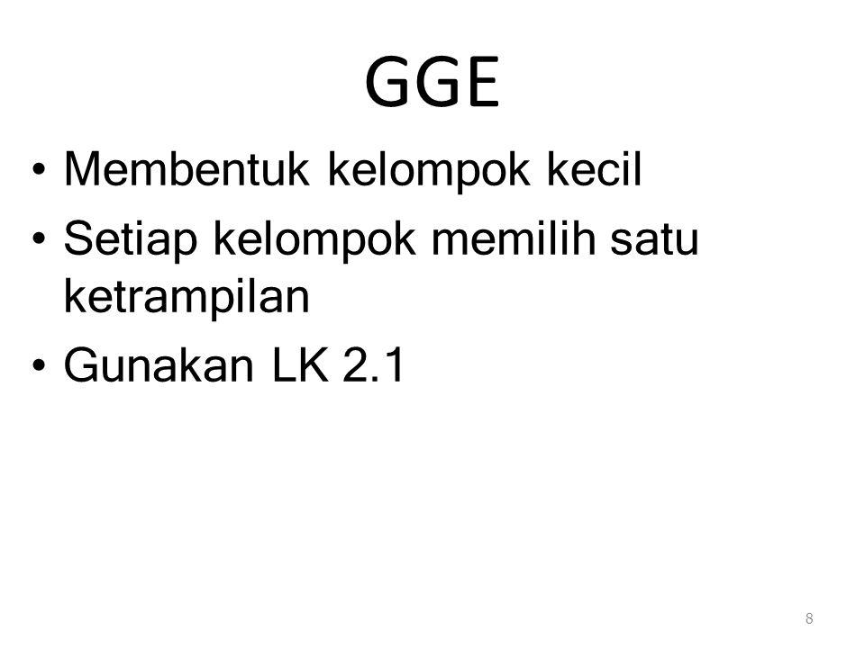 GGE Membentuk kelompok kecil Setiap kelompok memilih satu ketrampilan