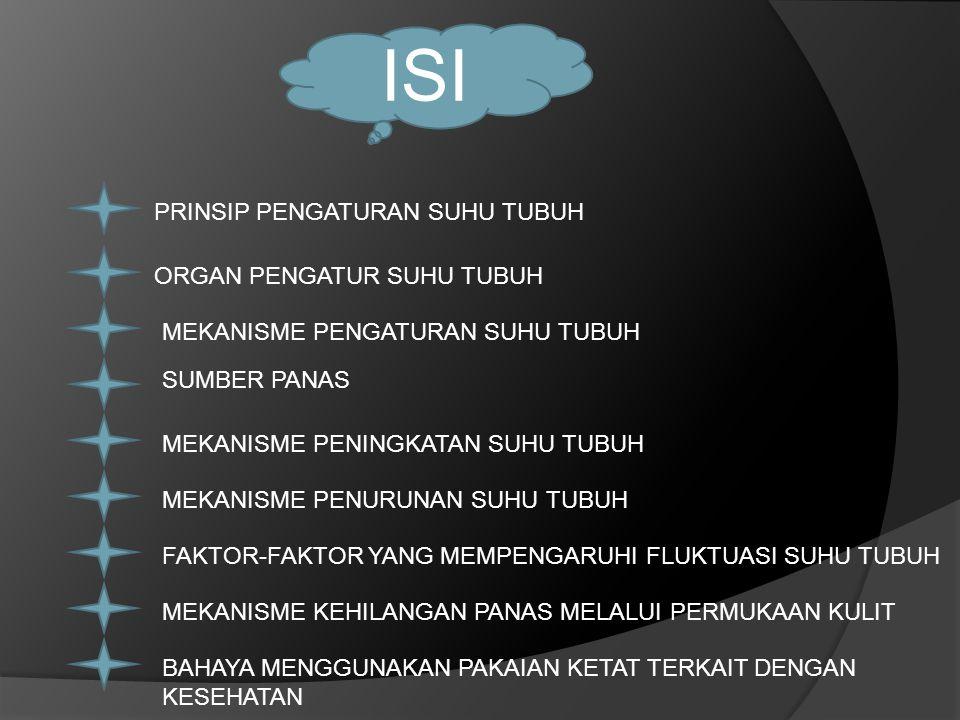 ISI PRINSIP PENGATURAN SUHU TUBUH ORGAN PENGATUR SUHU TUBUH