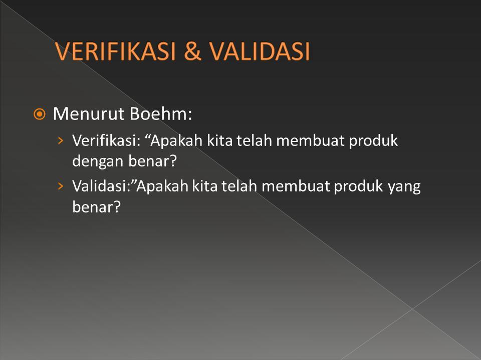 VERIFIKASI & VALIDASI Menurut Boehm:
