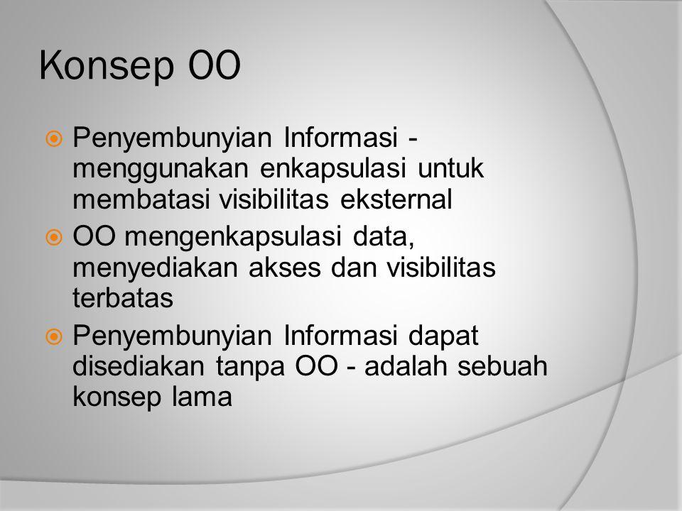 Konsep OO Penyembunyian Informasi - menggunakan enkapsulasi untuk membatasi visibilitas eksternal.