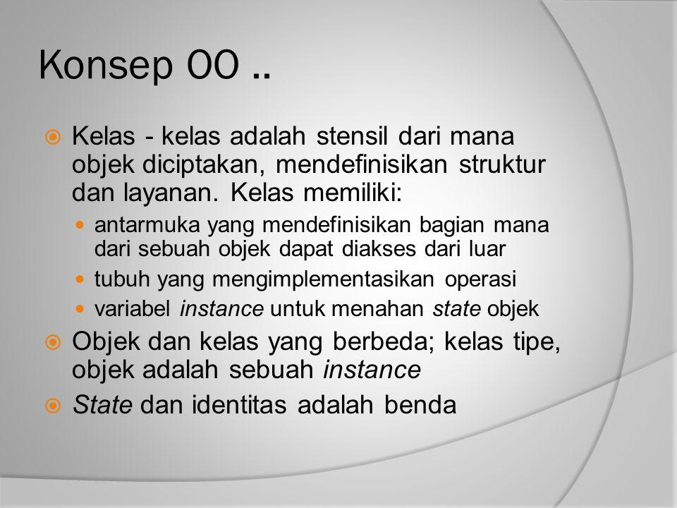 Konsep OO .. Kelas - kelas adalah stensil dari mana objek diciptakan, mendefinisikan struktur dan layanan. Kelas memiliki: