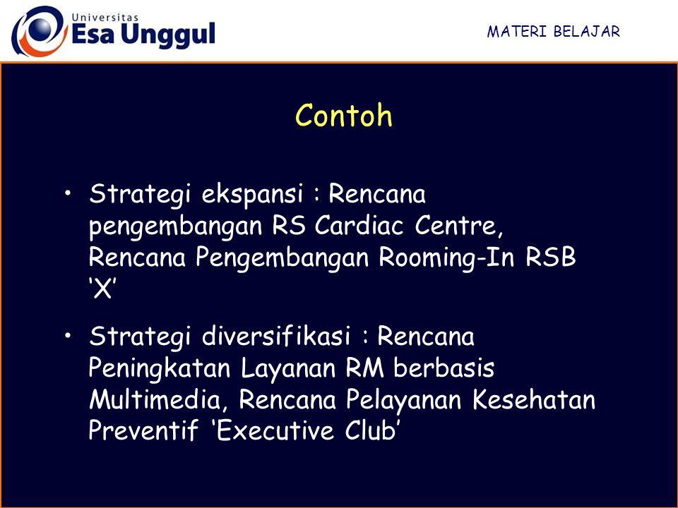MATERI BELAJAR Contoh. Strategi ekspansi : Rencana pengembangan RS Cardiac Centre, Rencana Pengembangan Rooming-In RSB 'X'