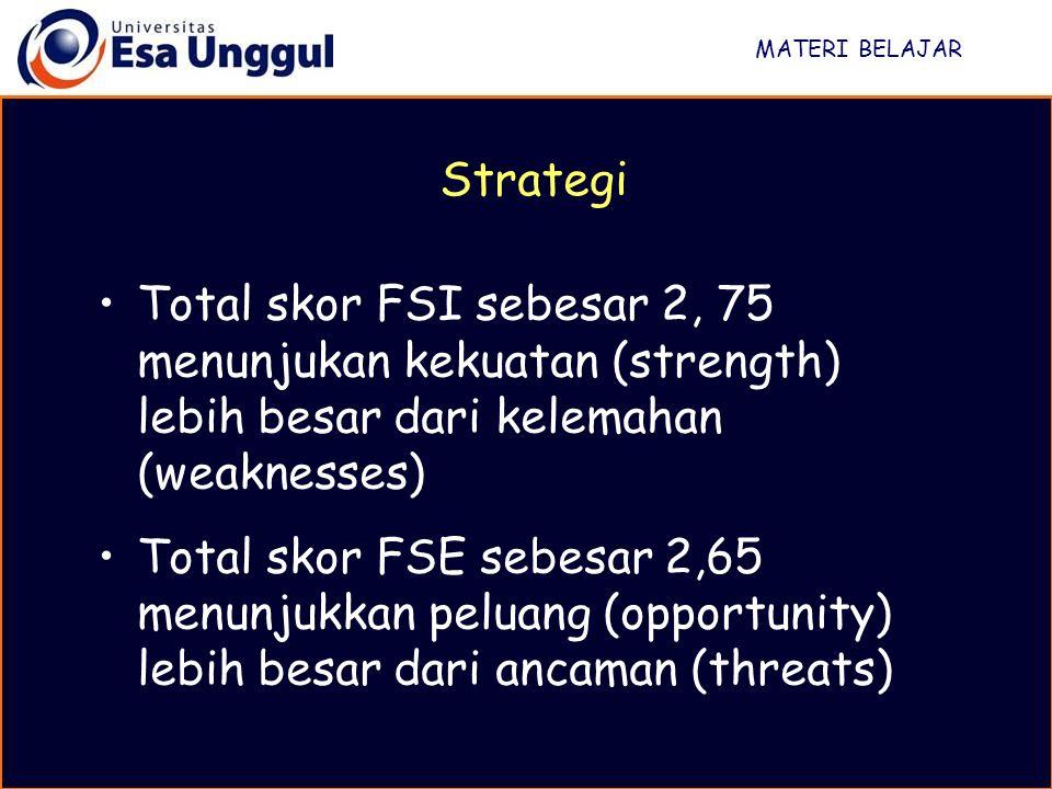 MATERI BELAJAR Strategi. Total skor FSI sebesar 2, 75 menunjukan kekuatan (strength) lebih besar dari kelemahan (weaknesses)