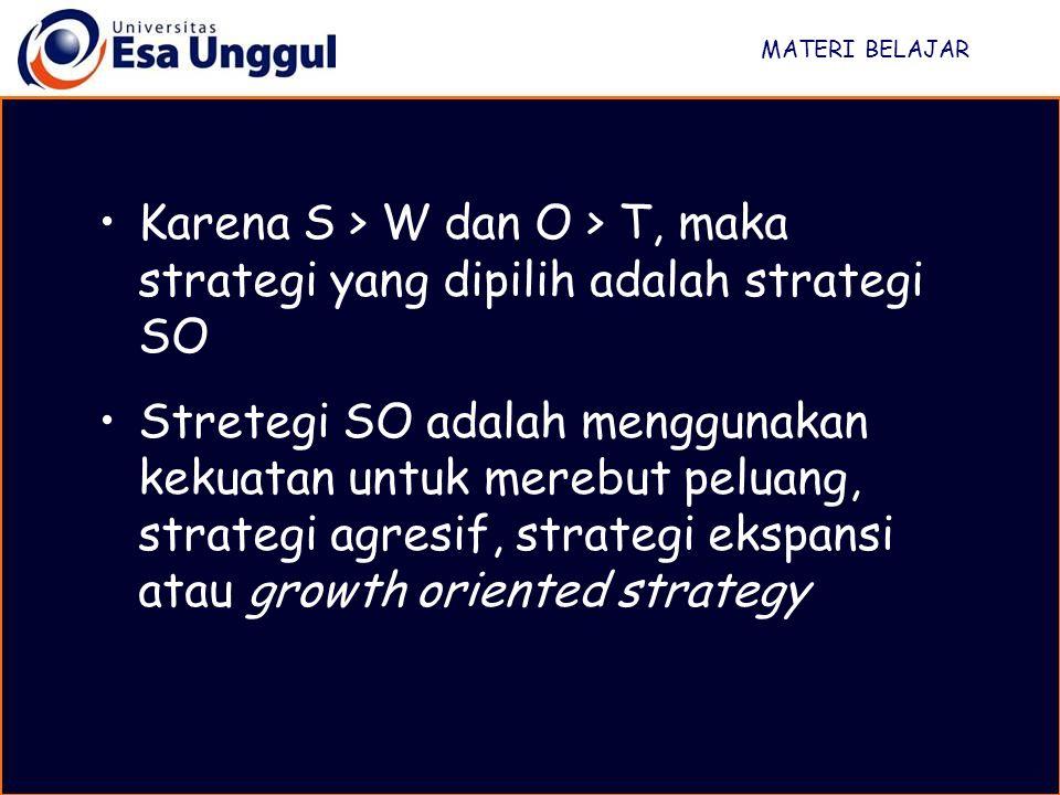 MATERI BELAJAR Karena S > W dan O > T, maka strategi yang dipilih adalah strategi SO.