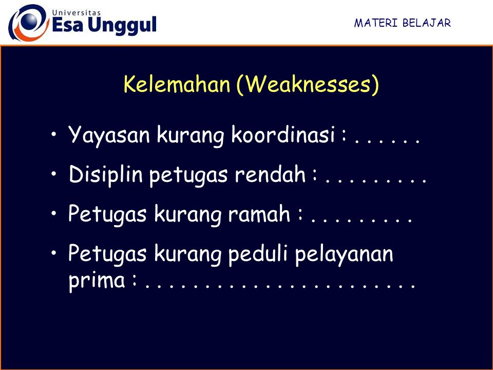 Kelemahan (Weaknesses)
