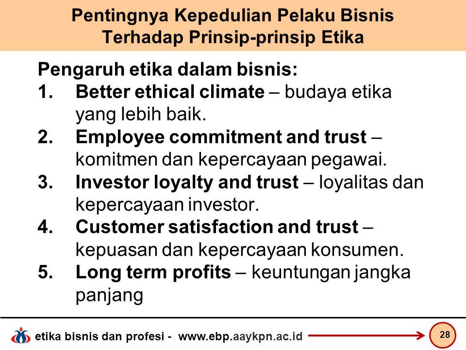 Pentingnya Kepedulian Pelaku Bisnis Terhadap Prinsip-prinsip Etika