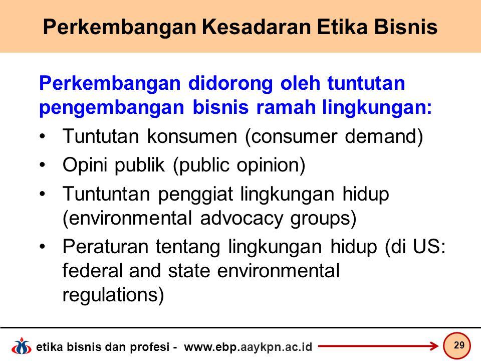 Perkembangan Kesadaran Etika Bisnis