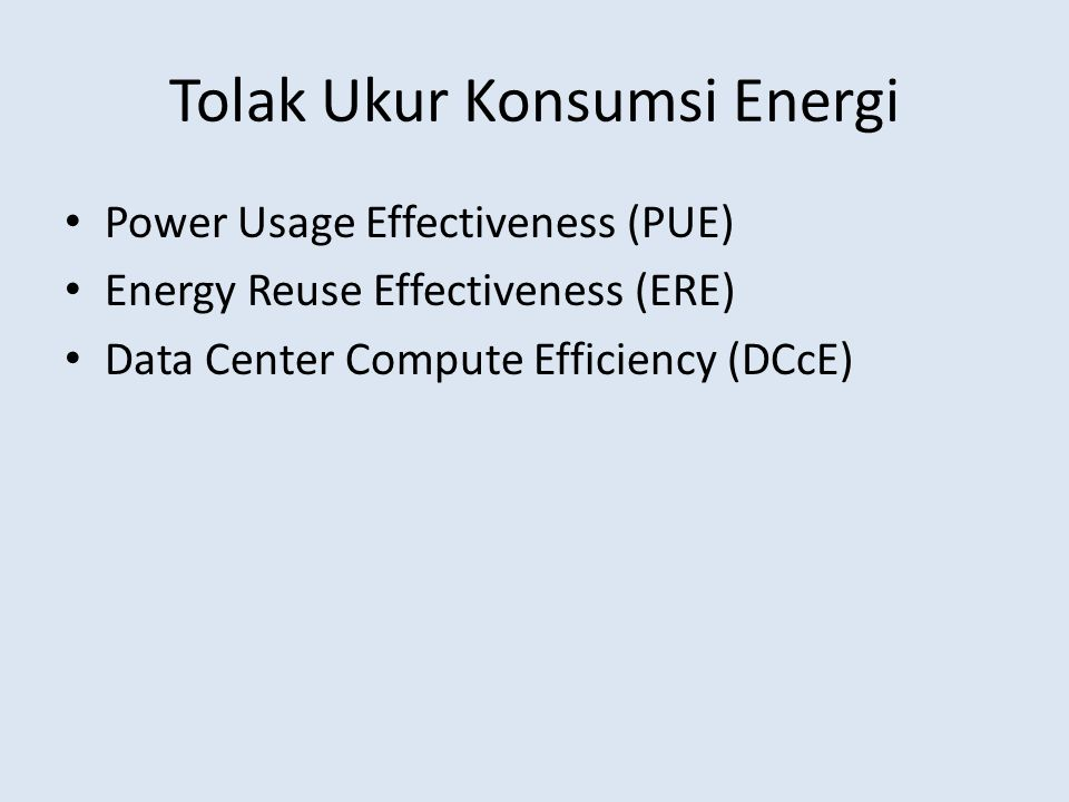Tolak Ukur Konsumsi Energi