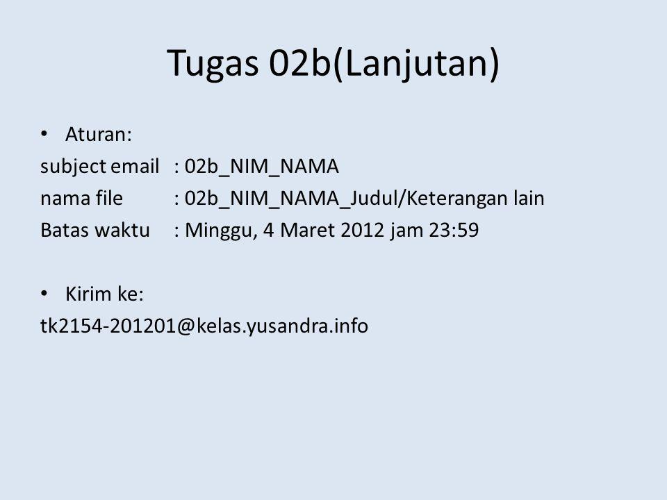 Tugas 02b(Lanjutan) Aturan: subject email : 02b_NIM_NAMA