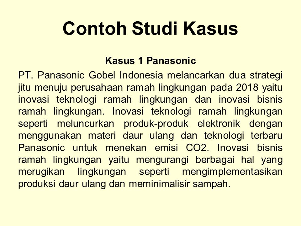 Contoh Studi Kasus Kasus 1 Panasonic
