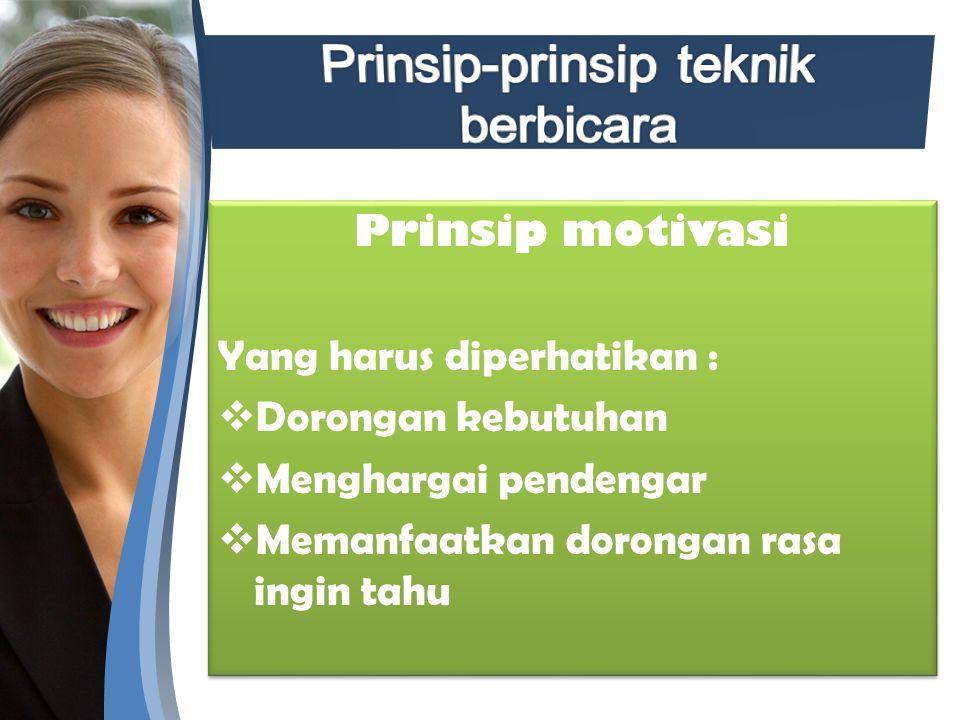 Prinsip-prinsip teknik berbicara