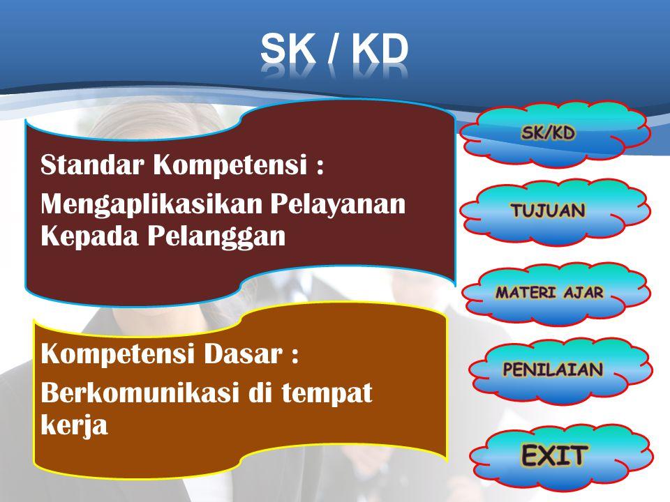 SK / KD SK/KD. Standar Kompetensi : Mengaplikasikan Pelayanan Kepada Pelanggan Kompetensi Dasar : Berkomunikasi di tempat kerja