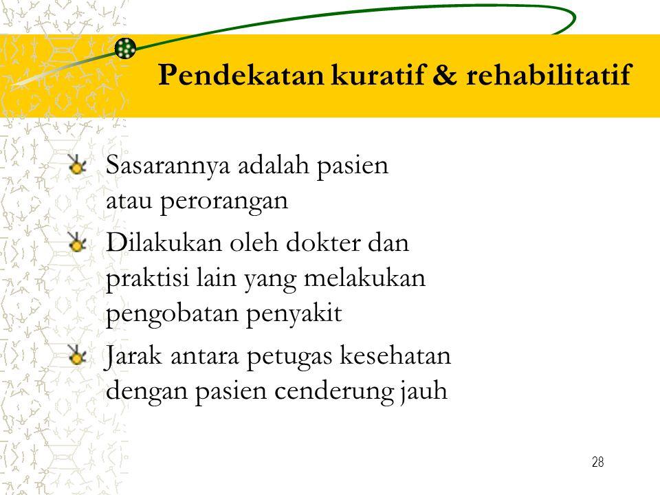 Pendekatan kuratif & rehabilitatif