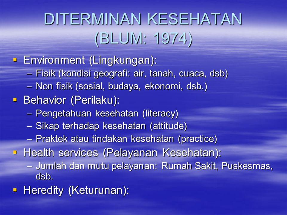 DITERMINAN KESEHATAN (BLUM: 1974)
