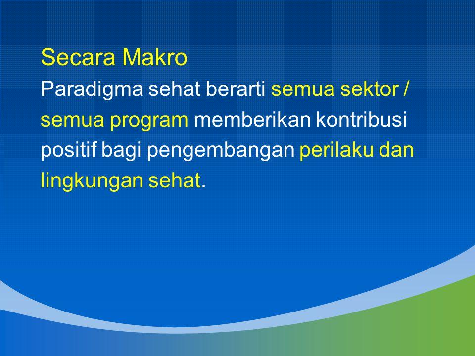Secara Makro Paradigma sehat berarti semua sektor /