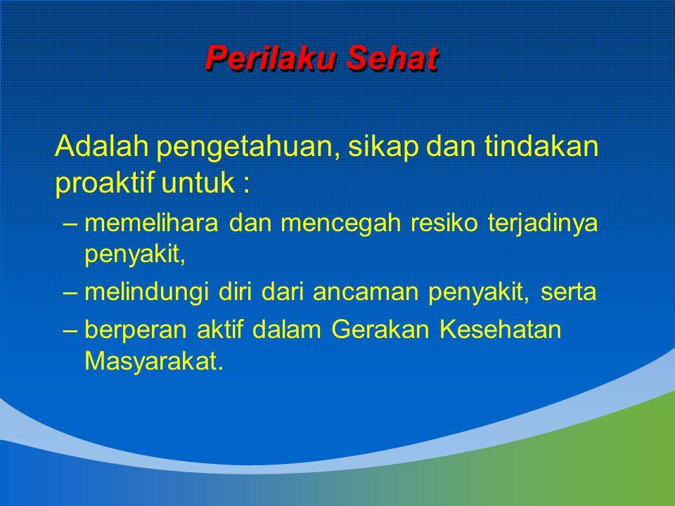 Perilaku Sehat Adalah pengetahuan, sikap dan tindakan proaktif untuk :