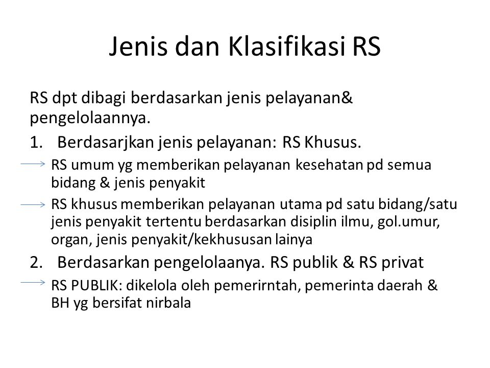 Jenis dan Klasifikasi RS