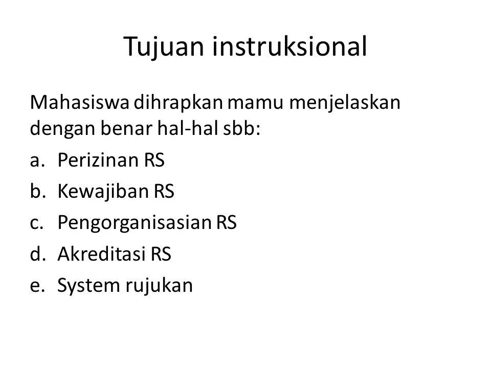 Tujuan instruksional Mahasiswa dihrapkan mamu menjelaskan dengan benar hal-hal sbb: Perizinan RS. Kewajiban RS.