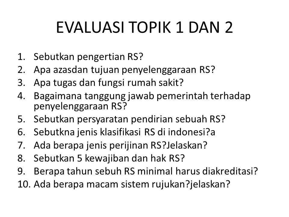 EVALUASI TOPIK 1 DAN 2 Sebutkan pengertian RS