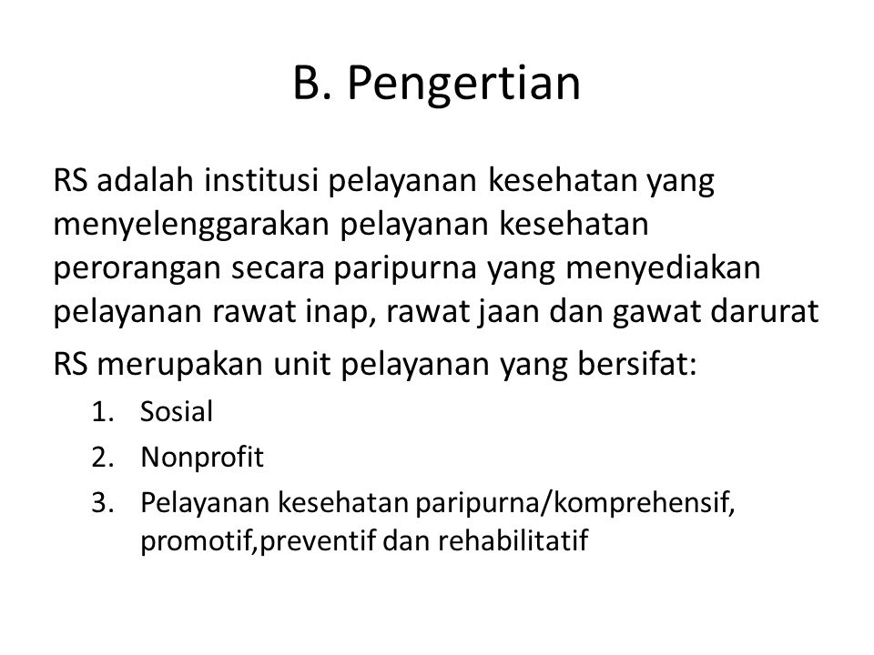 B. Pengertian