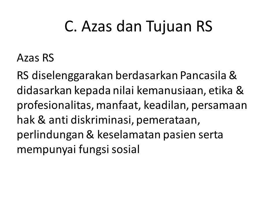 C. Azas dan Tujuan RS