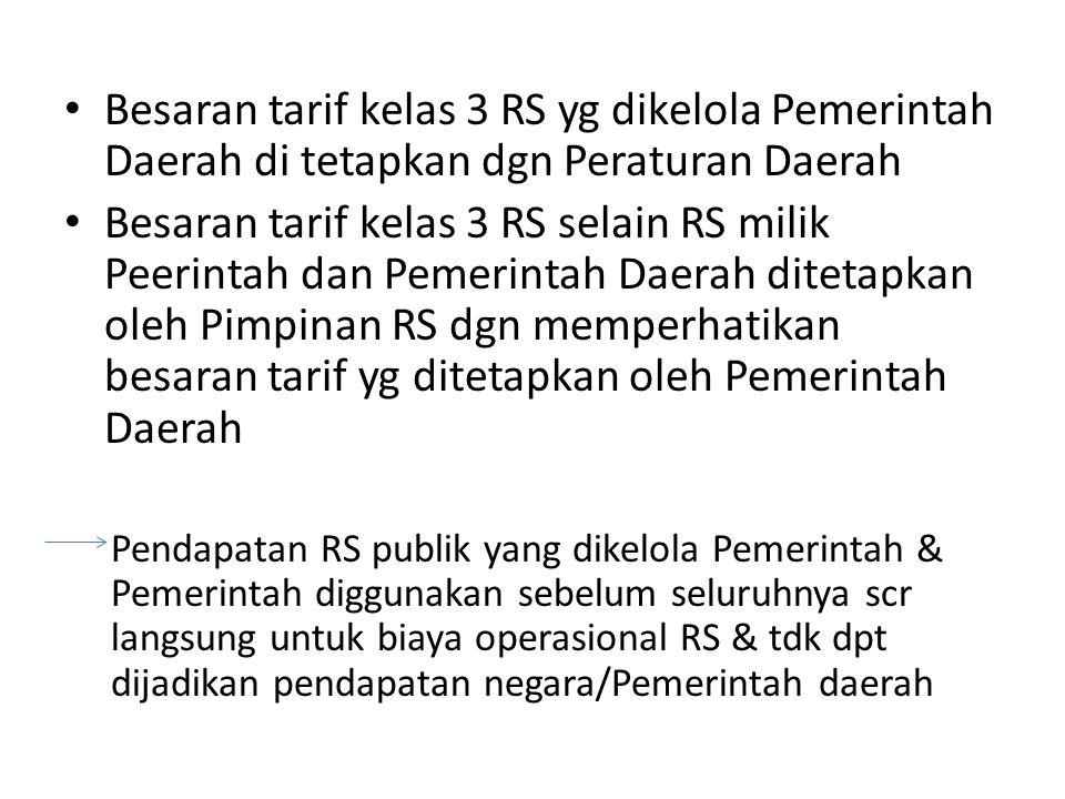 Besaran tarif kelas 3 RS yg dikelola Pemerintah Daerah di tetapkan dgn Peraturan Daerah