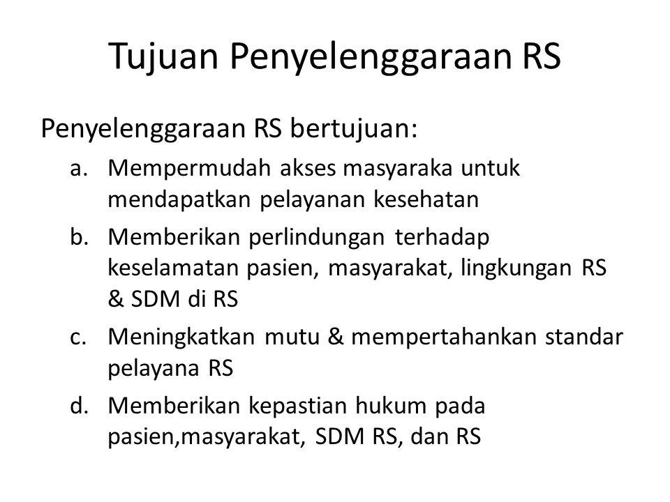 Tujuan Penyelenggaraan RS