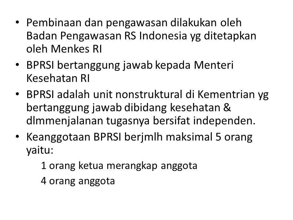 BPRSI bertanggung jawab kepada Menteri Kesehatan RI