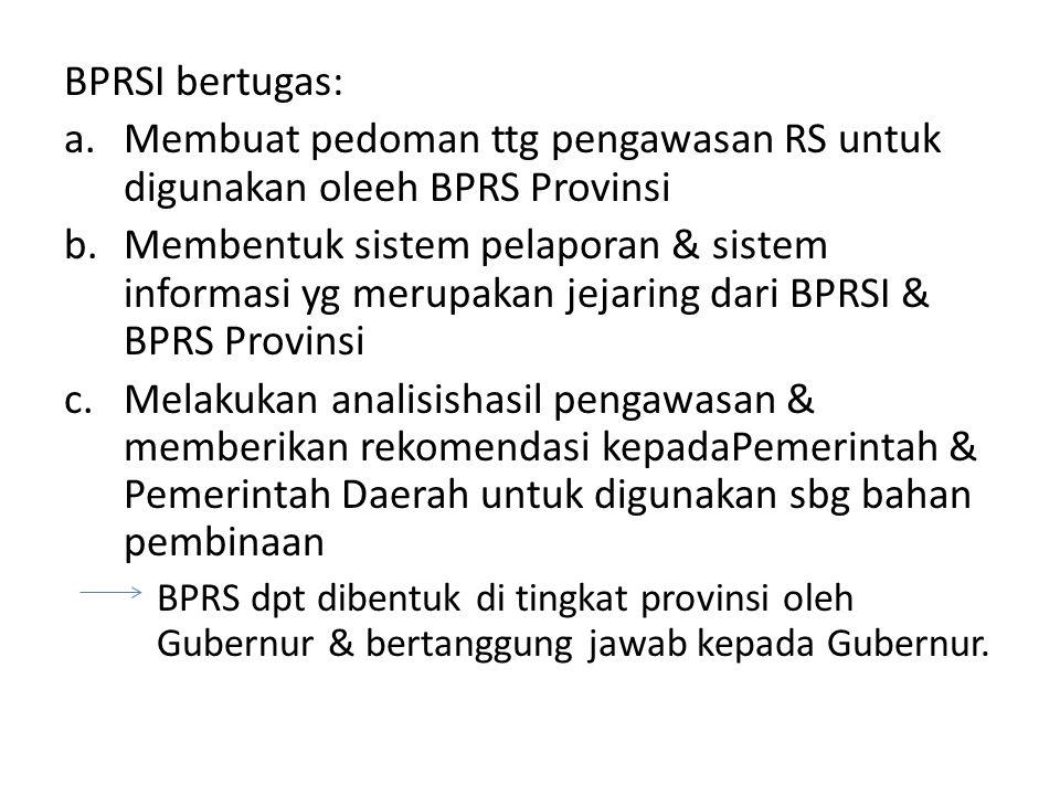 Membuat pedoman ttg pengawasan RS untuk digunakan oleeh BPRS Provinsi