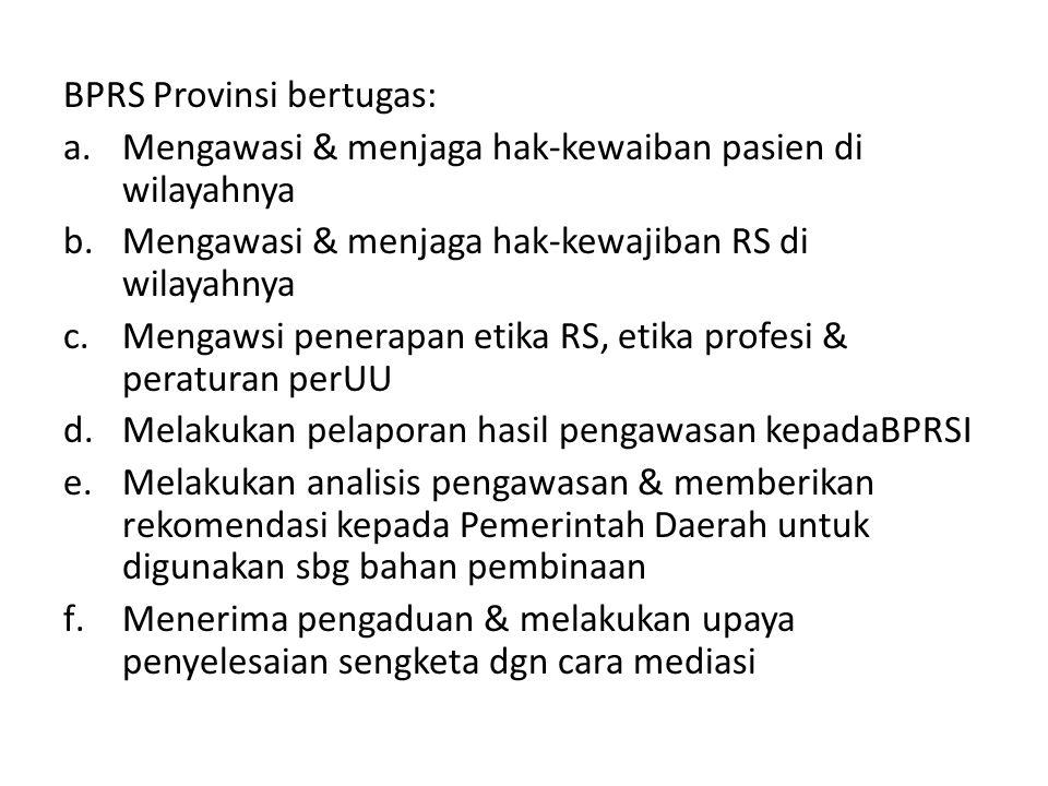 BPRS Provinsi bertugas: