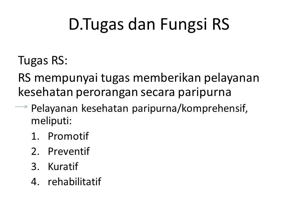 D.Tugas dan Fungsi RS Tugas RS: